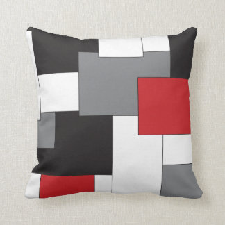 Color-block Red Black Gray White Throw Pillow Throw Cushion