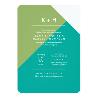 Color Block Wedding Apple/Teal Card