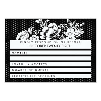 Color Blocking Mod Polka Dots RSVP Wedding Card 9 Cm X 13 Cm Invitation Card