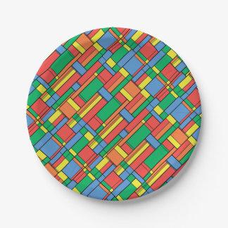 Color blocks 7 inch paper plate