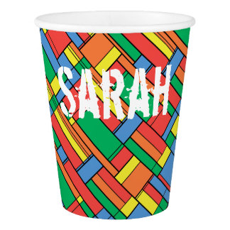 Color blocks paper cup