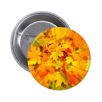 Color Burst of Fall Leaves Autumn Colors Button