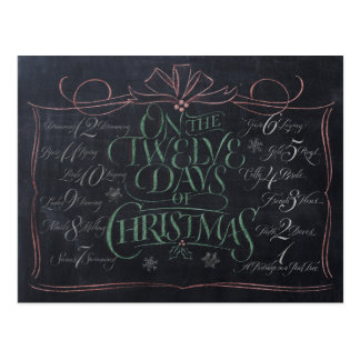 Color Chalkboard Lettering '12 Days of Christmas' Postcard