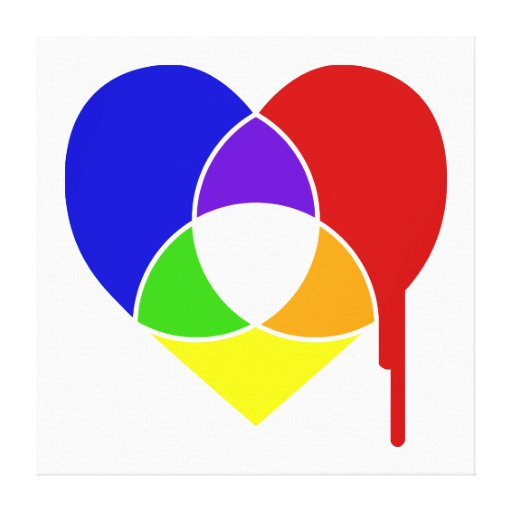 color chart heart stretched canvas prints