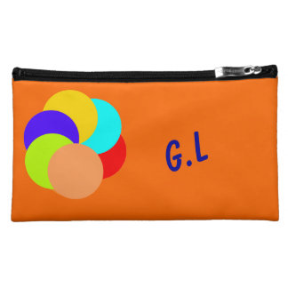 Color Circles Add Initials or name Cosmetics Bags