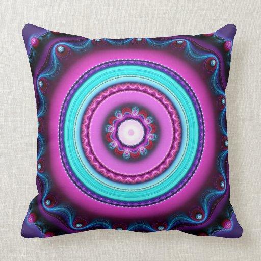 Color Circles, artistic Fractal Throw pillow
