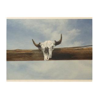Color Cow Skull Wood Art Wood Canvas