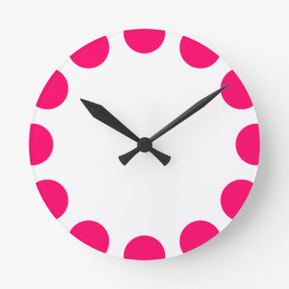 Color Crescent - Neon Red with White Round Wallclock