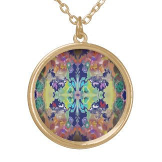 Color Design in the Abstract Gold Plated Necklace