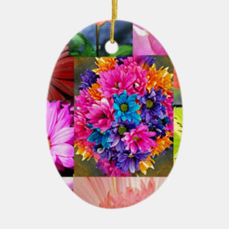 Color Display of flowers Ceramic Ornament