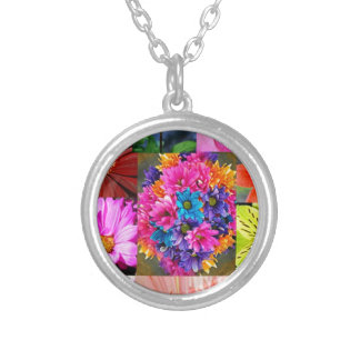 Color Display of flowers Silver Plated Necklace