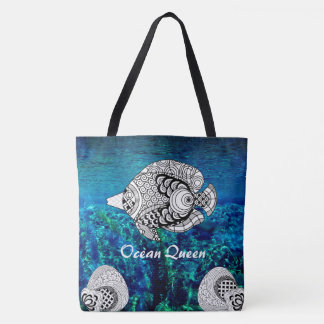 Color Doodle Design Tropical Fish Ocean Water Bag