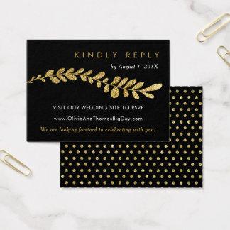 Color Editable Faux Gold Leaf Wedding RSVP Card