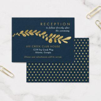 Color Editable Gold Leaf Wedding Reception Card