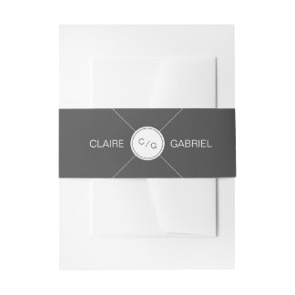 Color editable minimalist modern wedding monogram invitation belly band