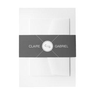 Color editable minimalist modern wedding monogram invitation belly band