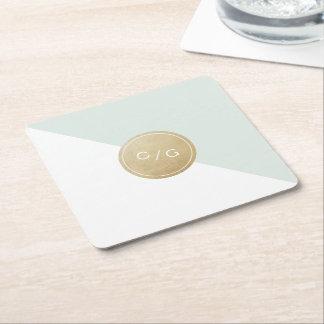 Color editable minimalist modern wedding monogram square paper coaster