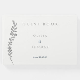 Color Editable Silver Leaf Wedding Guest Book