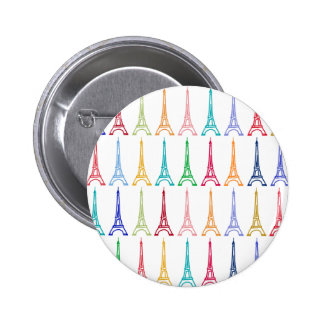 color eiffel towers pattern 6 cm round badge
