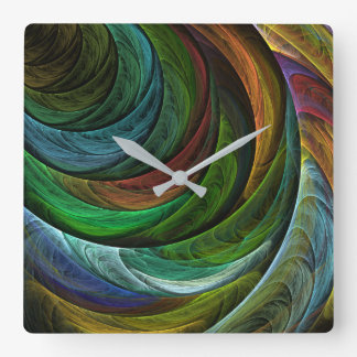 Color Glory Abstract Art Square Square Wall Clock
