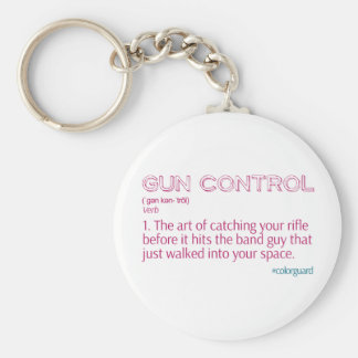 "Color Guard Funny Rifle ""Gun Control"" Basic Round Button Key Ring"