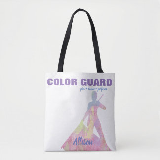 Color Guard With Performer Silhouette Figure Tote Bag