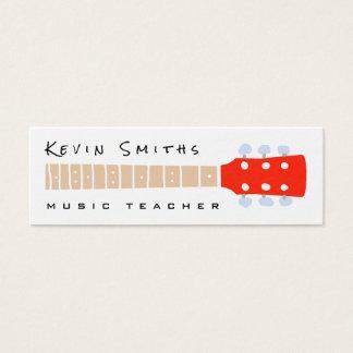 color guitar neck on white music teacher mini business card