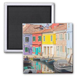 Color houses in Venice island Burano Italy Square Magnet