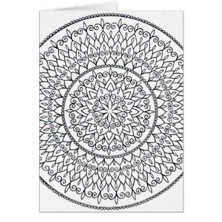 Color It Yourself Hand Drawn Intricate Mandala Art Card