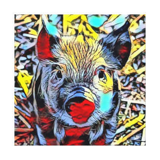 color kick - piglet canvas print