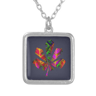 Color leaf silver plated necklace