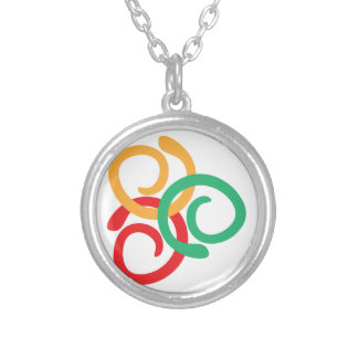 Color logo silver plated necklace