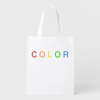 Color Lovers Typographical Rainbow Spectrum Reusable Grocery Bag