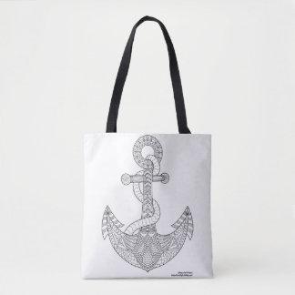 Color Me Anchor Nautical Zen Doodle Illustration Tote Bag