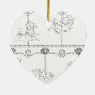 Color Me Carousel Ceramic Heart Decoration