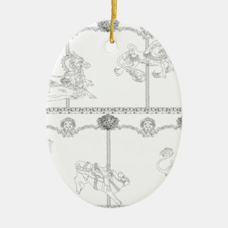 Color Me Carousel Ceramic Oval Decoration