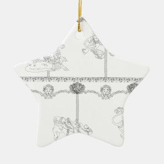 Color Me Carousel Ceramic Star Decoration