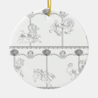 Color Me Carousel Round Ceramic Decoration