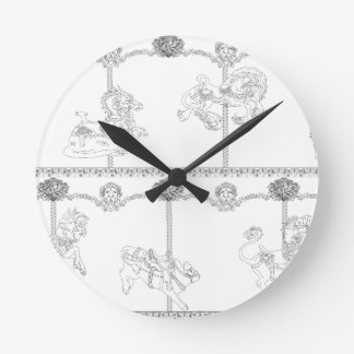 Color Me Carousel Round Clock