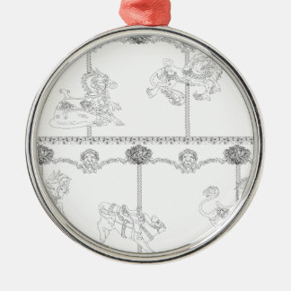 Color Me Carousel Silver-Colored Round Decoration