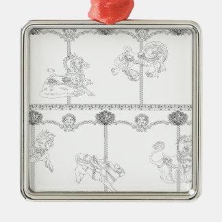 Color Me Carousel Silver-Colored Square Decoration
