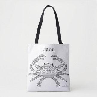 Color Me Crab Crustacean Nautical Art Illustration Tote Bag