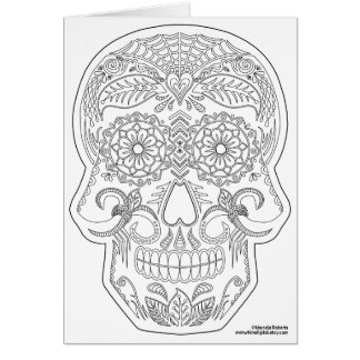 Color Me Day of the Dead Sugar Skull Zen Art Greeting Card