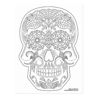 Color Me Day of the Dead Sugar Skull Zen Art Postcard