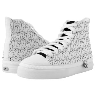 Color Me DIY  Abstract Hearts Doodle Printed Shoes