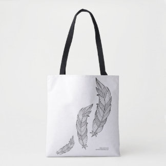 Color Me Feathers Fall Zen Doodle Illustration Tote Bag