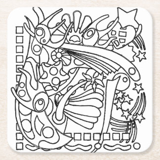 Color Me Gathering and Coloring Party Square Paper Coaster