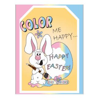 Color Me Happy Easter Bunny Postcard