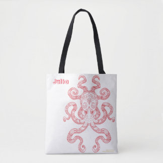 Color Me Octopus Nautical Art Red Illustration Tote Bag
