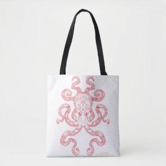 Color Me Octopus Red Nautical Zen Doodle Art Tote Bag